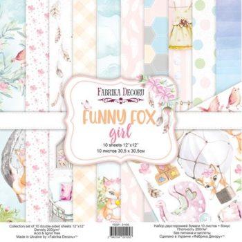 Набор скрапбумаги Funny fox girl (Забавная лиса, девочка) - Фабрика Декору, 30,5x30,5см