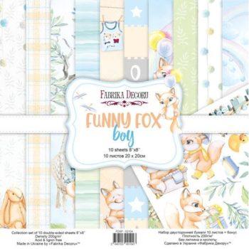 Набор скрапбумаги Funny fox boy (Забавный лисенок, мальчик) - Фабрика Декору, 20x20см
