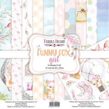 Набор скрапбумаги Funny fox girl (Забавный лисенок, девочка) - Фабрика Декору, 20x20см
