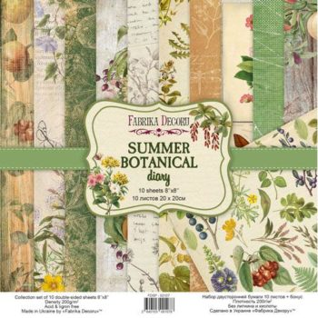 Набор скрапбумаги Summer botanical diary - Фабрика Декору, 20x20см