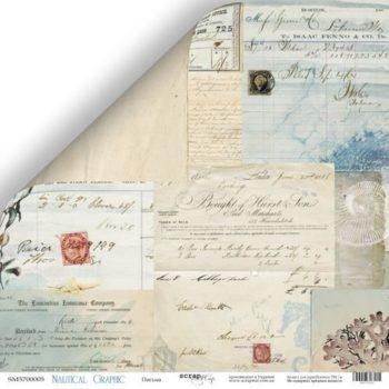 Лист бумаги Nautical Graphic – Письма от Scrapmir 30,5*30,5