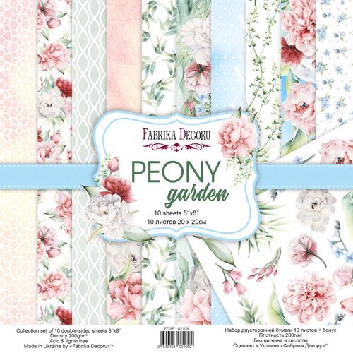 Набор скрапбумаги Peony garden (Пионовый сад) - Фабрика Декору, 20x20см