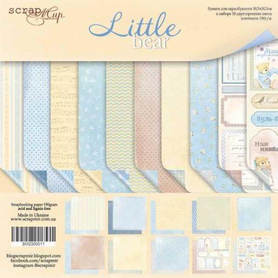 SM2300011 Набор бумаги Little Bear (Маленький мишка) – Scrapmir 10 листов 30х30см