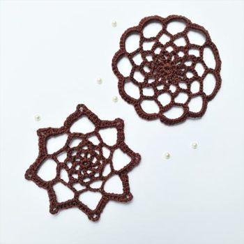 Вязаный декор Салфетки, цвет - Шоколад 7см