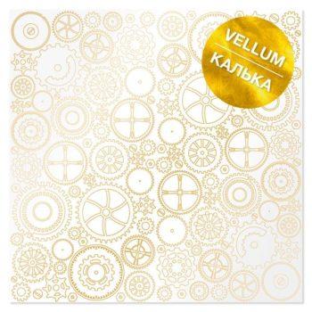 Лист кальки (веллум) с фольгированием Golden Gears - Фабрика Декору