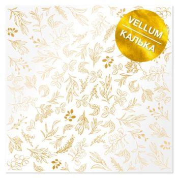 Лист кальки (веллум) с фольгированием Golden Branches - Фабрика Декору