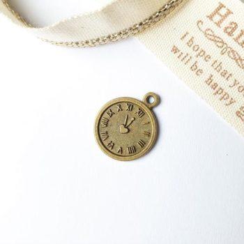 Металлическое украшение Часы маленькие бронза 14*18мм